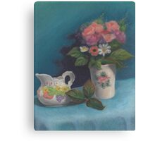 Still life with creamer and faux flowers Canvas Print