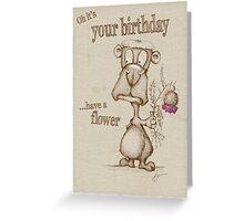 Grumpy Bear Birthday Flower Greeting Card