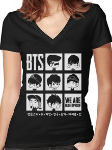 BTS WE ARE BULLETPROOF Chibi Women's Fitted V-Neck T-Shirt