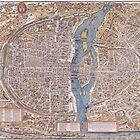 MEDIEVAL PARIS MAP c. 1555 by Daniel-Hagerman