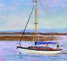Boat Returning to Moor, Burnham Estuary. by Antony R James