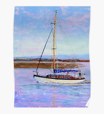 Boat Returning to Moor, Burnham Estuary. Poster