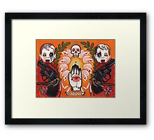 antidote, tattoo flash, guns, evil babies and skulls Framed Print