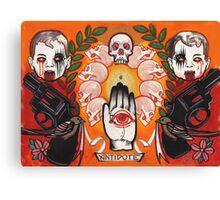 antidote, tattoo flash, guns, evil babies and skulls Canvas Print