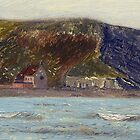 Vew of Brean Down, looking from Uphill beach. by Antony R James