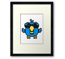 Bird funny birdie sunglasses cool comic Framed Print