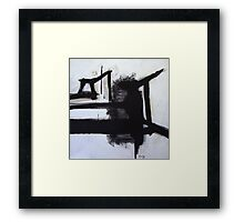 Busy Bees - New Black White Abstract Stylish Fine Art Framed Print