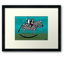 Cats on a Rocking Zebra Framed Print