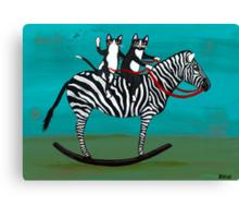 Cats on a Rocking Zebra Canvas Print