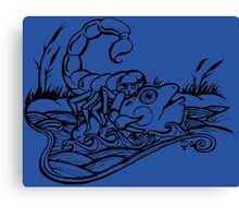 Scorpion and the Frog (black) Canvas Print