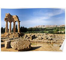 Ancient and modern, Valley of The Temples, Agrigento, Sicily Poster