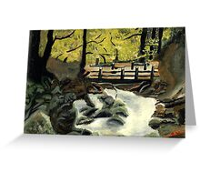 Deep woods with gushing water Greeting Card