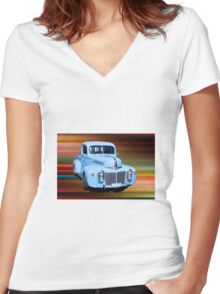 The Old Blue Ute. Women's Fitted V-Neck T-Shirt