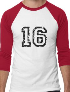 Number Sixteen - No. 16 (two-color) white Men's Baseball ¾ T-Shirt