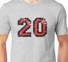 Number Twenty - No. 20 (two-color) red Unisex T-Shirt