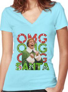 OMG SANTA! Women's Fitted V-Neck T-Shirt