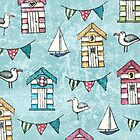 Beach Huts and Gulls by Lisa Marie Robinson