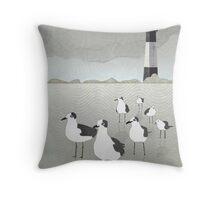 Seagulls Lighthouse Throw Pillow