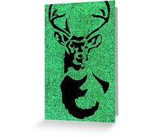 Stag green and black print  Greeting Card