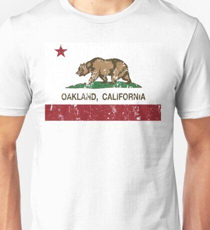Oakland California Republic Flag Distressed  Unisex T-Shirt