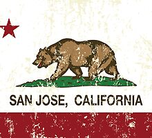 San Jose California Republic Flag Distressed  by NorCal