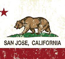 San Jose California Republic Flag Distressed  by NorCal