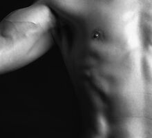 Closeup of man bare fit torso and biceps art photo print by ArtNudePhotos