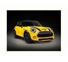 Yellow 2014 Mini Cooper S hatchback car art photo print Art Print