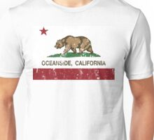 Oceanside California Republic Flag Distressed  Unisex T-Shirt