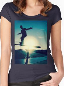 Skateboarder silhouette on a grind Women's Fitted Scoop T-Shirt