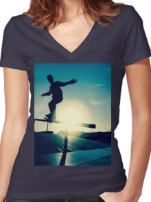 Skateboarder silhouette on a grind Women's Fitted V-Neck T-Shirt