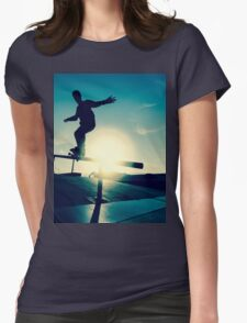 Skateboarder silhouette on a grind Womens Fitted T-Shirt