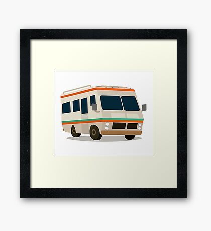 Vintage RV camper cartoon Framed Print