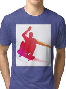 Skaterboarder performing a trick Tri-blend T-Shirt