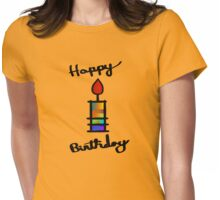 Happy Birthday With Mult-Color Candle Womens Fitted T-Shirt