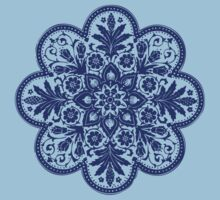 Victorian Ceiling Rose | Doily Pattern | Navy Blue & White Kids Tee
