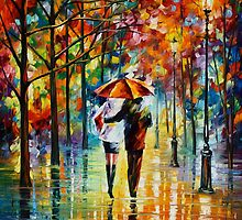 UNDER THE RED UMBRELLA by Leonid  Afremov
