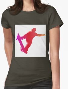 Skateboarder performing a trick Womens Fitted T-Shirt