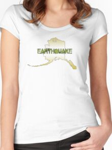 GOLDEN ALASKA EARTHQUAKE ~ White lettering for colored tee's Women's Fitted Scoop T-Shirt