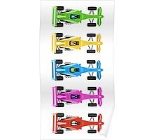 Five Race Cars  Poster
