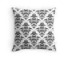 Damask Pattern - Black & White Throw Pillow