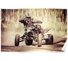 ATV racer takes a turn during a race.  Poster