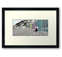 Beach Huts - digital file, decor, wall art, modern, beach, sea side, water, summer, sand, colour, holiday, sun by hannah glanvill Framed Print