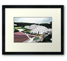 Eden project UK - fine art print, decor, wall art, modern, purple, garden, landscape, eden, Cornwall, colour, domes by hannah glanvill Framed Print