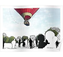 Balloon Takeoff Park - decor, wall art, park, air, red, colour, people, busy, walk, view, balloon by hannah glanvill Poster