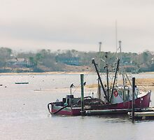 Red Fishing Boat, Chatham, Cape Cod, Massachusetts by Elizabeth Thomas