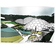 Eden project UK - fine art print, decor, wall art, modern, blue green, garden, landscape, eden, Cornwall, colour, domes by hannah glanvill Poster