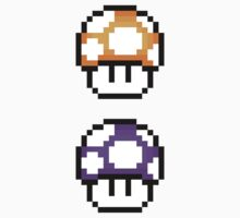 8-Bit 1-Up Mushrooms ×2 (Orange & Purple) by gam3r