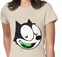 Green ooze vintage cartoon cat Womens Fitted T-Shirt