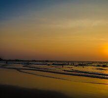 Sunset on a beach by Jitesh Chauhan